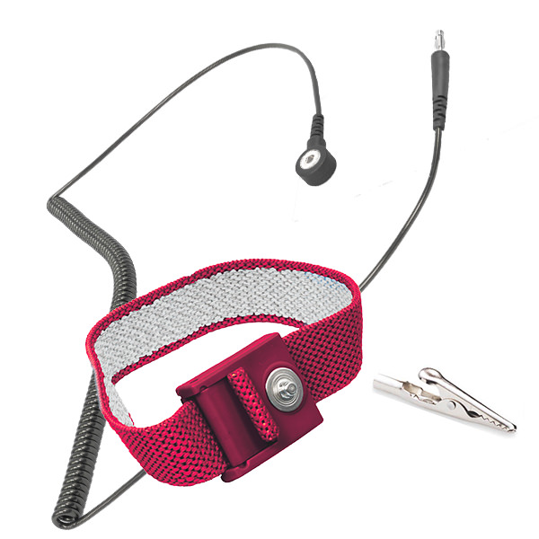 Standard Grounding ESD Wrist Strap with Metal Backplate and Silver Suffused Nylon Threading to Ground Static