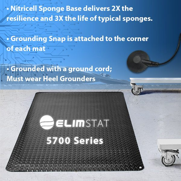 Elimstat.com Anti Static Floor Mats are diamond-plated and havea nitricell sponge base. Connect to a 4720 Series Mat Ground to electrically bond the mat.