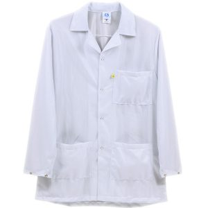 9010 Series White Snap Cuff ESD Jacket
