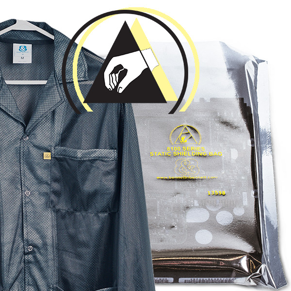 The ESD Protective Symbol on ESD Smocks and Anti Static Bags