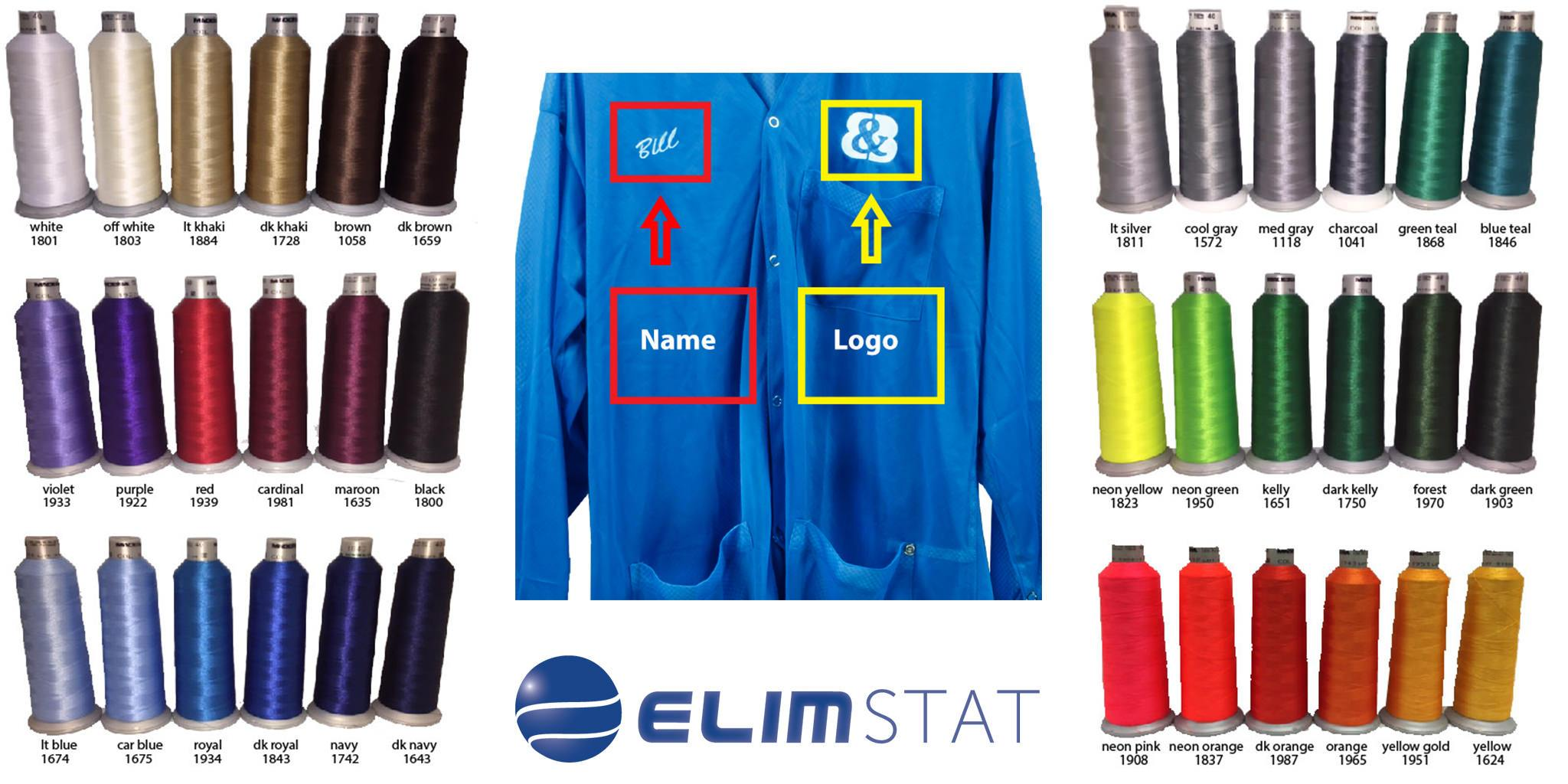 Elimstat ESD Smock Embroidery Colors