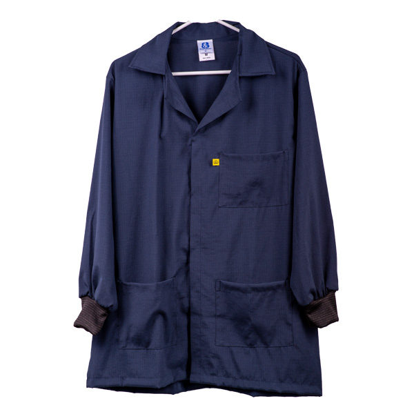 Snap Covered Knit Cuff Polyester Cotton ESD Smocks. Navy Blue.
